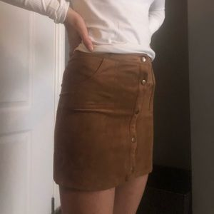 Light brown suede mini-skirt